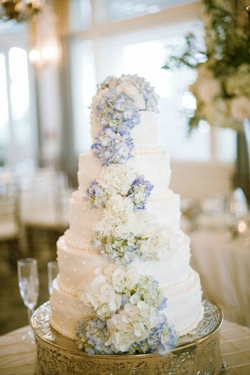hydrangea wedding cake... hydrangeas would be really pretty... should be a lot in bloom.