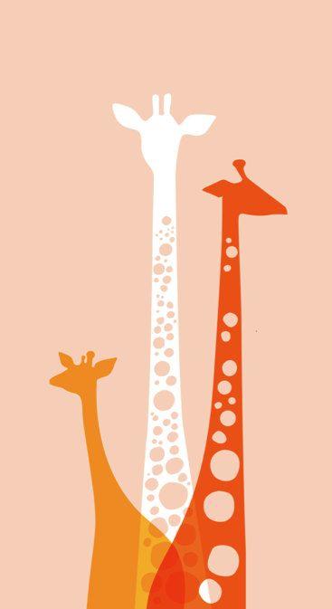 "Giraffe Trio 9X16.5"" Giclee Print. Pink/Orange/Poppy.. $35.00, via Etsy."