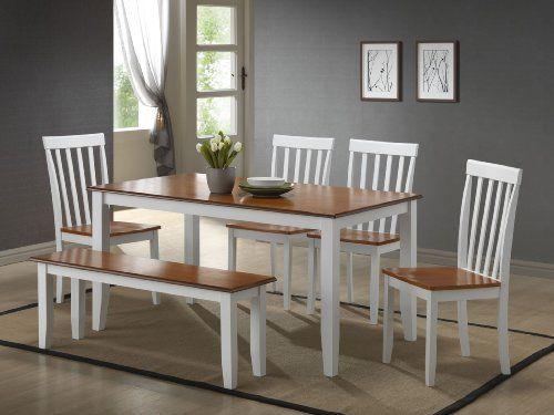 Boraam 22034 6 Piece Bloomington Dining Room Set White Honey Oak