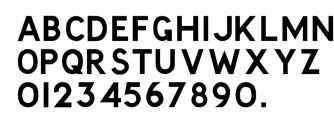 Road Fonts: Before the Worboys Report introduced the current road sign designs and lettering in 1964, British road signs looked very different. This is the lettering they used. No official name is known for it, so we just call it the Old Road Sign Font.