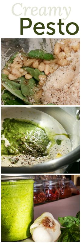 Homemade pesto sauce with garden fresh ingredients (the secret is heavy cream)