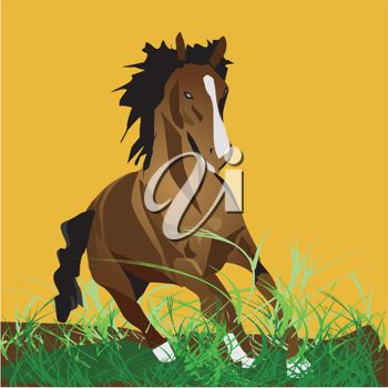 Royalty Free Clipart Image of a Horse Running