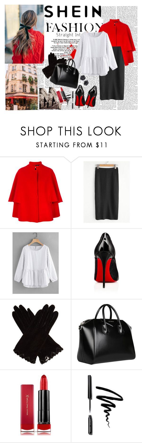 """""""405. SHEIN"""" by valdete ❤ liked on Polyvore featuring Gianluca Capannolo, Christian Louboutin, AGNELLE, Givenchy, Max Factor and Bobbi Brown Cosmetics"""