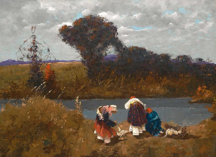 Стирка на реке,. Материал: Холст, картон, масло,. Размер: 60 х 79,. Собрание…