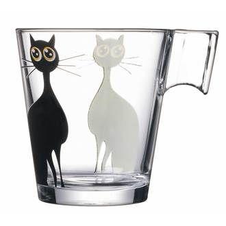 Tasse en verre Transparent / noir - 22 cl - Lot de 6 MISTIGRI