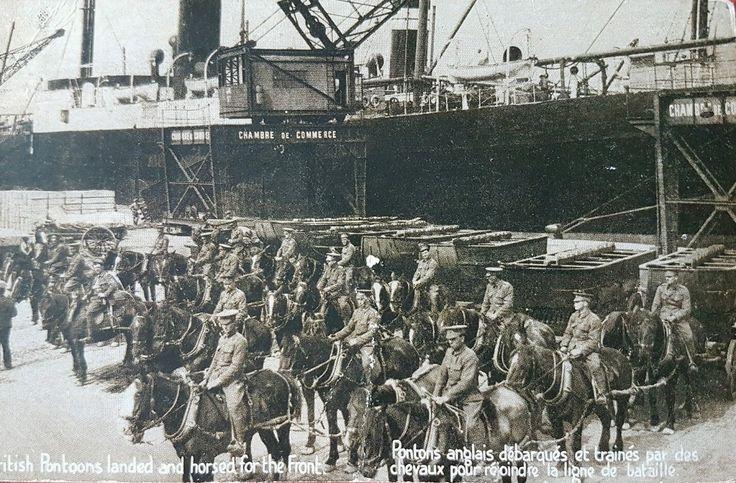 Royal Engineer pontoons drawn up on the dockside
