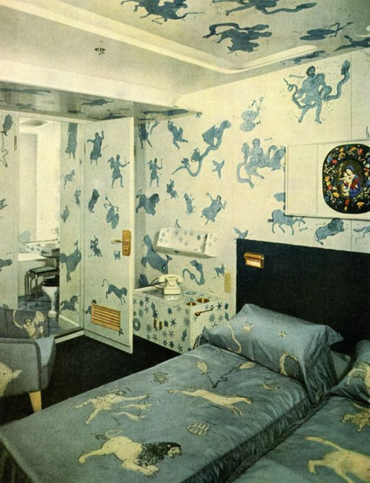 Interiors of a luxury suite of the Andrea Doria ocean liner ship decorated by Piero Fornasetti, 1951.
