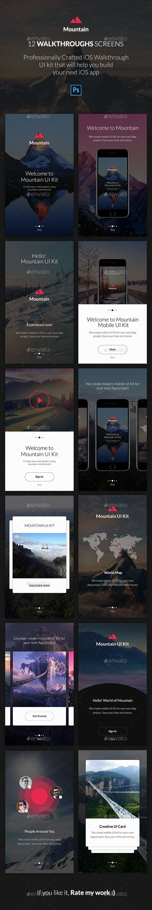 Mountain App UI KIT - Walkthroughs - #User #Interfaces #Web Elements Download here: https://graphicriver.net/item/mountain-app-ui-kit-walkthroughs/19721833?ref=alena994