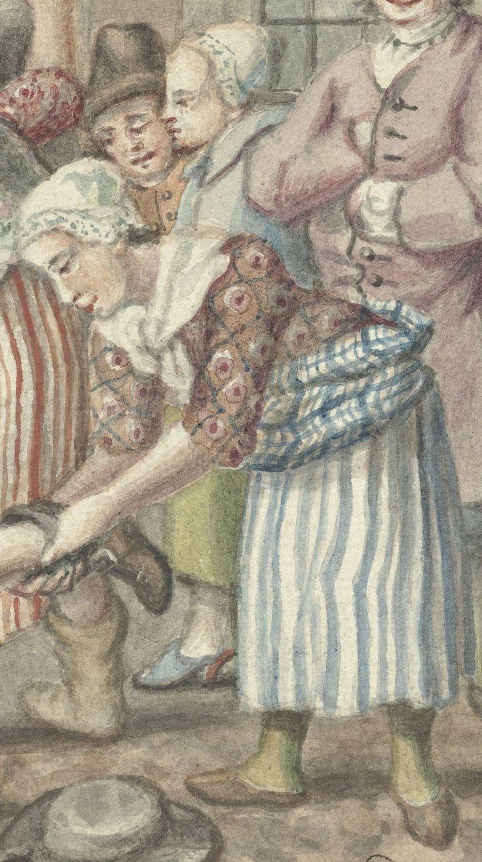 """1768.  Detail of """"Een man die zijn vrouw had geslagen wordt in de Vinkestraat te Amsterdam door een groep vrouwen bestraft"""" (A man who had beaten his wife is punished in the Vinkenstraat Amsterdam by a group of women) by Anthonie Drost.  Women -- Clothing & Dress -- Netherlands -- 1700-1799. Dutch 18th century costume."""