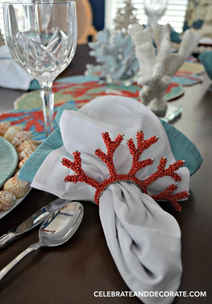 A Coral Table Celebration Beaded Napkin RingsCoral