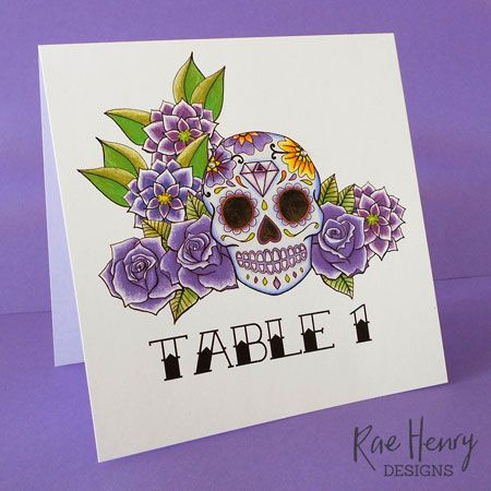 Purple Sugar Skull Wedding Invitations  by Rae Henry Designs £1.35 each shop…