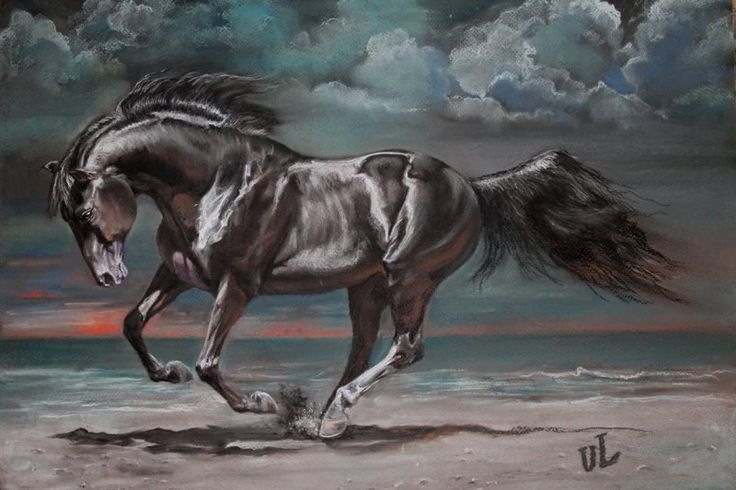 "пастель 40х50 Author:UL( Julia Lycagina) 12-5-2012 ""Night Runner"" User to the page: Julia Lycagina"
