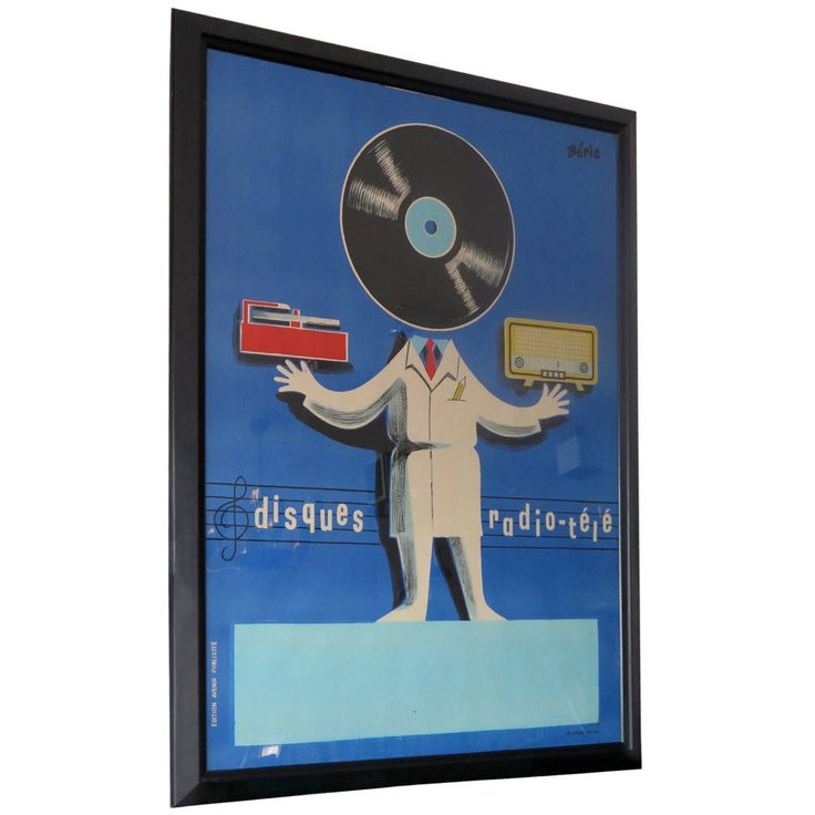Original Poster Radio-Tele Disques by Beric 1 as seen on Frasier at KACL