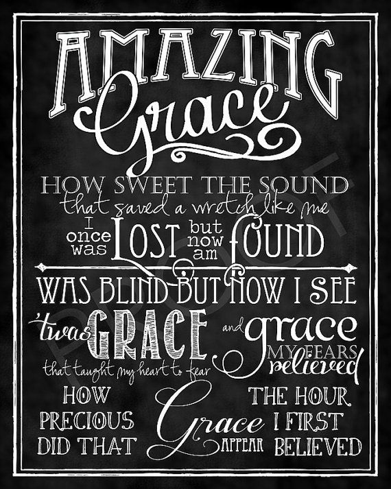 Art: Amazing Grace Hymn chalkboard style by ToSuchAsTheseDesigns