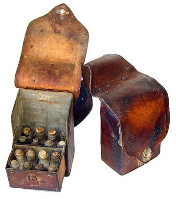 A pair of Stephens' patent 1885 antique medical saddlebags with 28 original bottles.  The set was used by John Francis Duncan, M.D., of McShan, Alabama.  He was an 1878 graduate of the Medical College of Alabama.