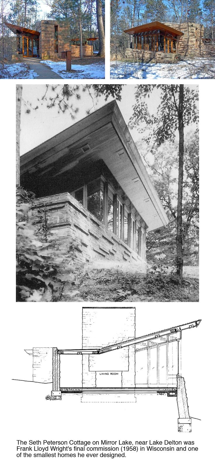 Seth Peterson Cottage. 1958. On Mirror Lake in Lake Delton, Wisconsin. Usonian. Frank Lloyd Wright