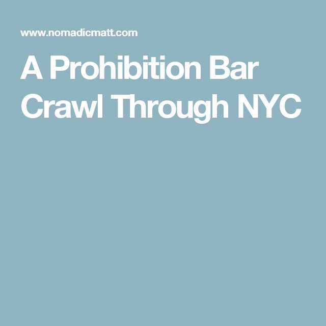 A Prohibition Bar Crawl Through NYC