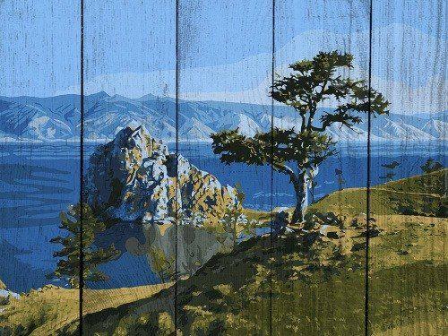 Картина по номерам по дереву «Байкальская жемчужина», раскраска по номерам