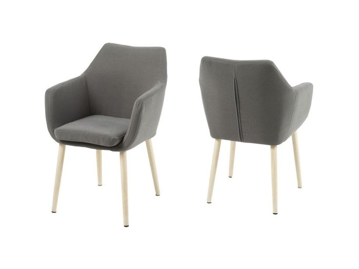Krzesło Nora szare tkanina nogi białe — Krzesła Actona — sfmeble.pl