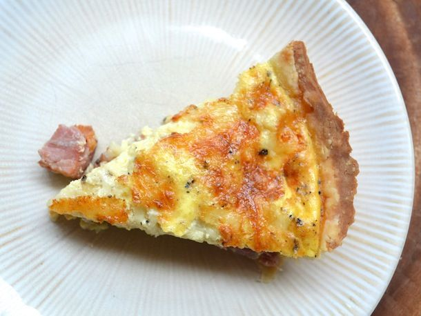 """Ham & Swiss Quiche -1pie crust-1T butter-1/2lb cooked ham,1/2"""" cubes-4eggs, beaten-1c milk-1t whole grain mustard-1t Worcestershire-s,p-1c grated swiss cheese-In pie shell, layer ham,cheese.Whisk together egg,milk,mustard,Worcestershire,s,p. Pour over. Bake @350 til lightly browned, puffy, 30-40min. Cool at least 20min before slicing. May be served at room temp or chilled. Add sautéed mushrooms,spinach or kale"""