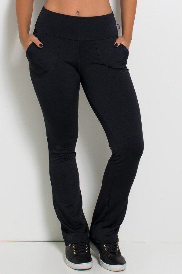 Calça Legging Bailarina Cores Lisas (Preto)