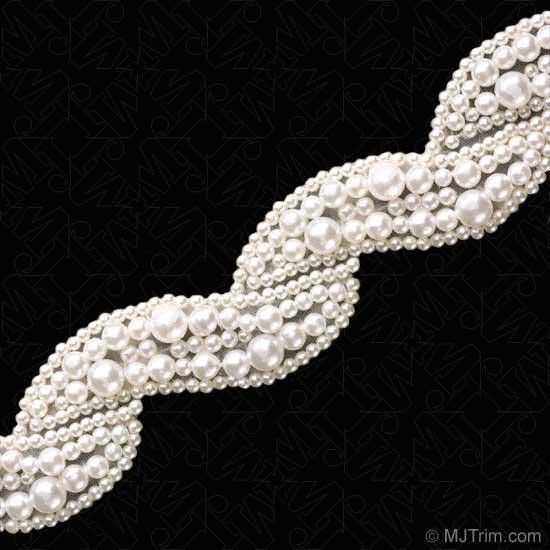 "1.25"" SCROLL PEARL BEADED TRIM - WHITE : M&J Trimming"