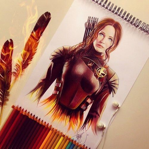 awesome drawing, katniss, and hunger games image... by http://www.dezdemonhumor.space/hunger-games-humor/drawing-katniss-and-hunger-games-image/
