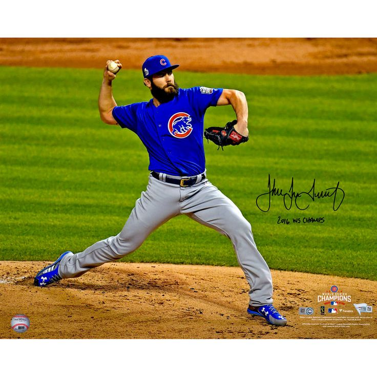 """Jake Arrieta Chicago Cubs Fanatics Authentic 2016 MLB World Series Champions Autographed 16"""" x 20"""" World Series Pitching Photograph with 2016 WS Champs Inscription"""