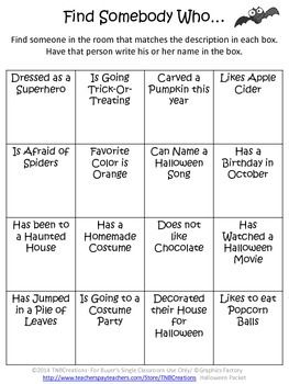 Halloween: Your students will love this fun Halloween activities packet and will save you time and money!  In the packet you will receive several printable worksheets and activities:  A Favorite Halloween Memory and Costume Worksheet A Guess My Costume Worksheet 7 Coloring Pages 3 Halloween Border pages for creative writing A Find Somebody Who...