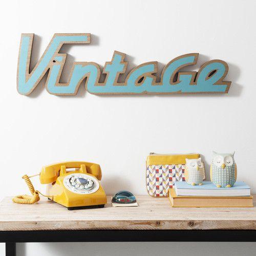 Mot déco Vintage en bois bleu RÉTRO | Maisons du Monde