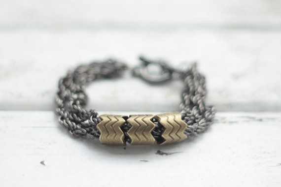 Mixed metals chunky bracelet / Equis Accessoires