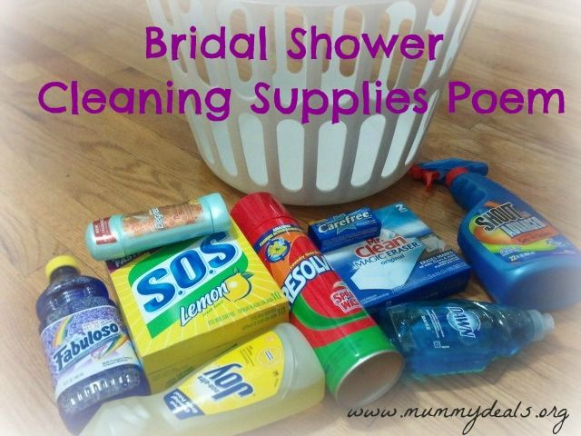 Bridal Shower Cleaning Supplies Poem