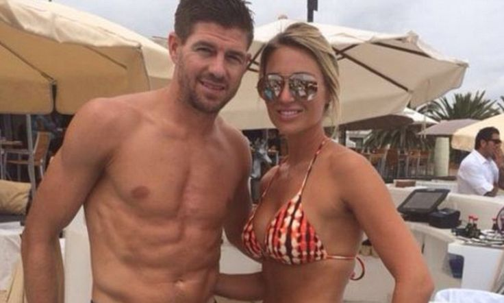 Steven Gerrard and wife Alex relax in the sun in Ibiza