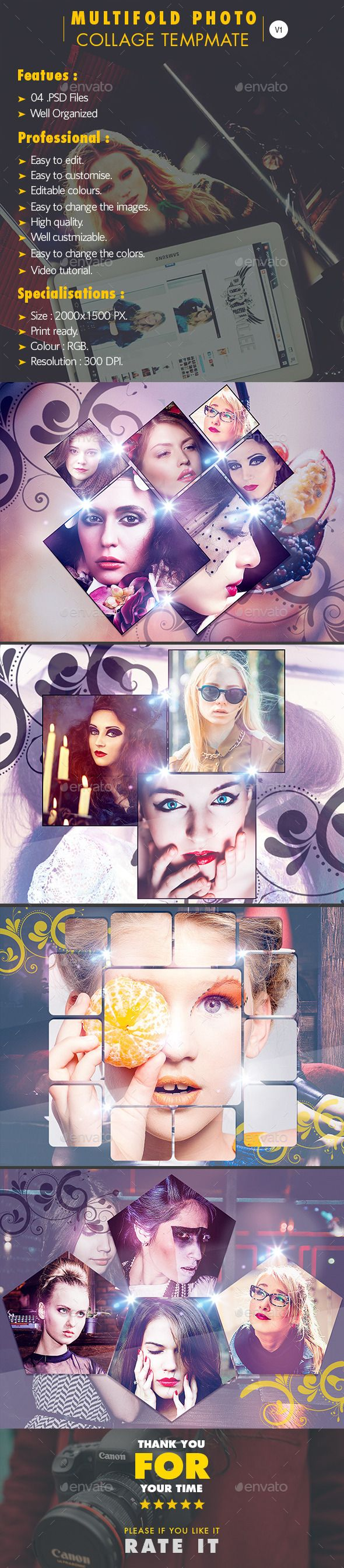 Multifold Photo Frame Template Vol.1
