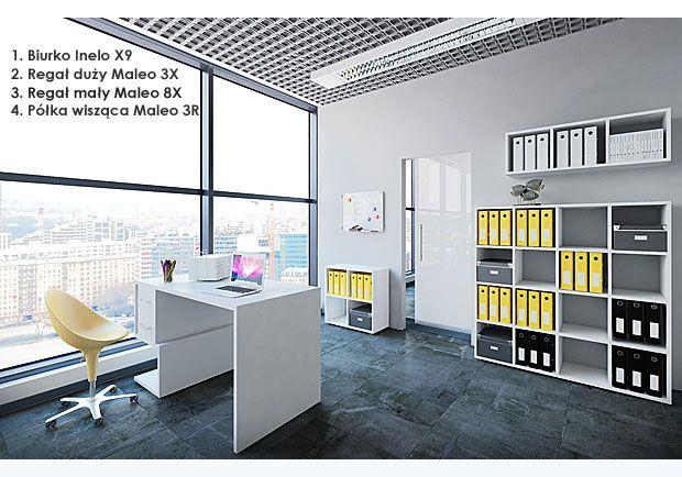 Komplet białych mebli biurowych Maleo 3D