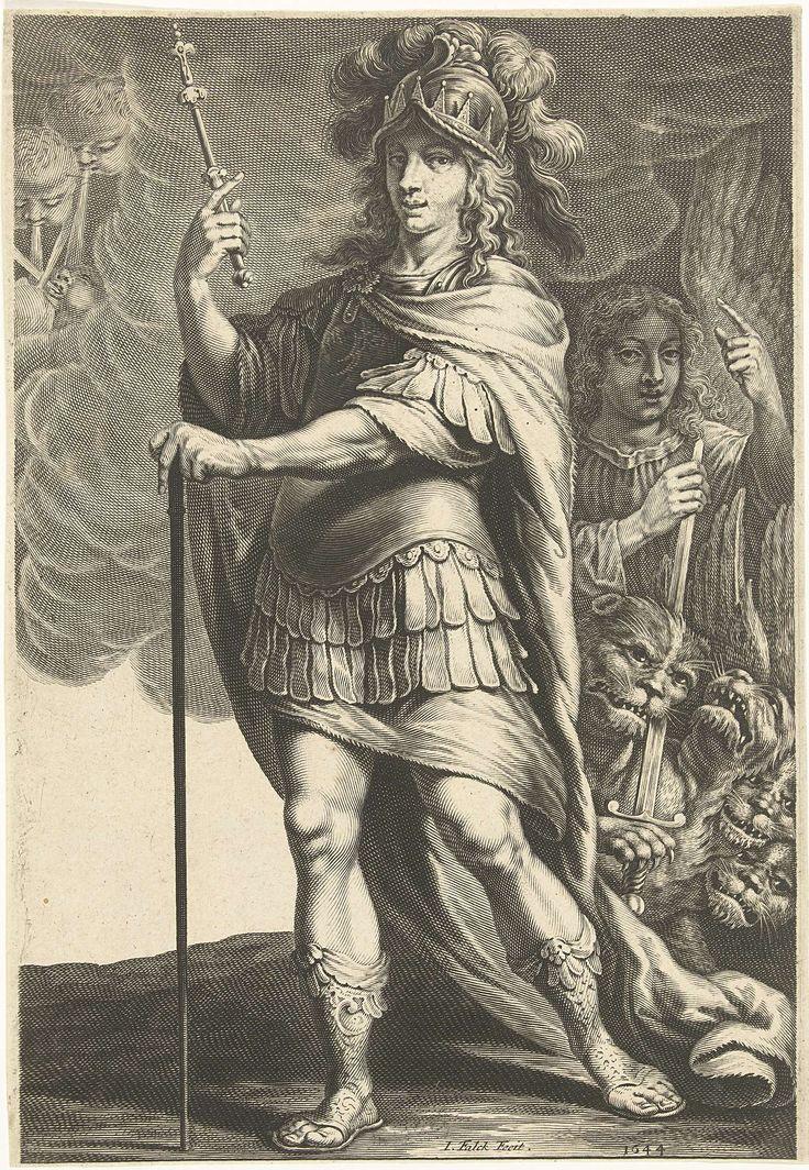 Jeremias Falck | Grieken - Alexander de Grote, Jeremias Falck, 1644 | Alexander de Grote met stok in rechter en scepter in linker hand. Op de achtergrond een engel en een vierkoppige leeuw. Linksboven blazen de vier windrichtingen. Kopie in spiegelbeeld naar prent met dezelfde titel.