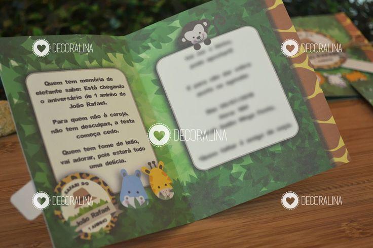 Convites no tema safari, animal! Detalhes animais da floresta, chapeuzinho, estampa de bichos e floresta, cordinha, cetim e sobreposição em papel!    -------------------------    Combinação de cores e estampas: conforme foto.    Dados do evento e lista de convidados: Nome, idade, data, hora, loca...