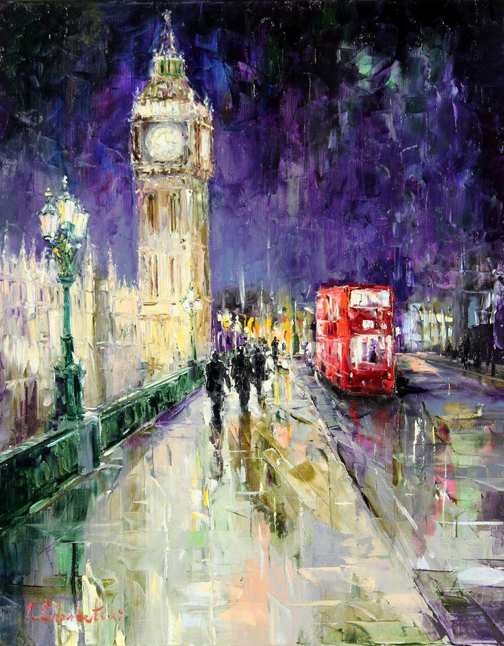 Westminister Bridge by Gleb Goloubetski, Oil on Canvas, 100cmx80cm