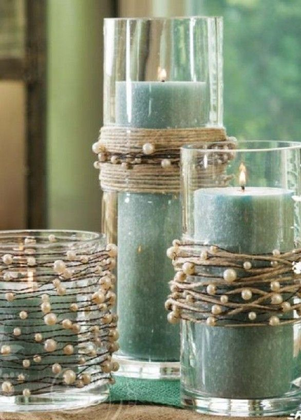 DIY Candles // string pearls on thread separate from twine and wind both around vases or candle holders.