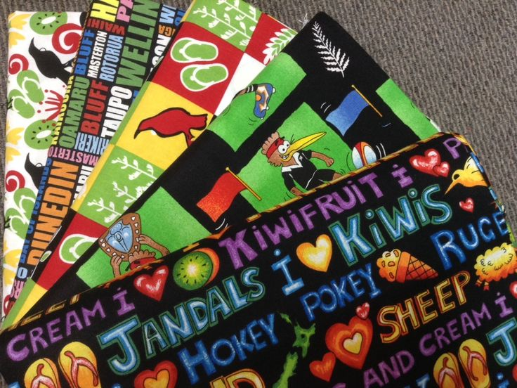 NZ themed 100% cotton quilting fabric. New Zealand icons.