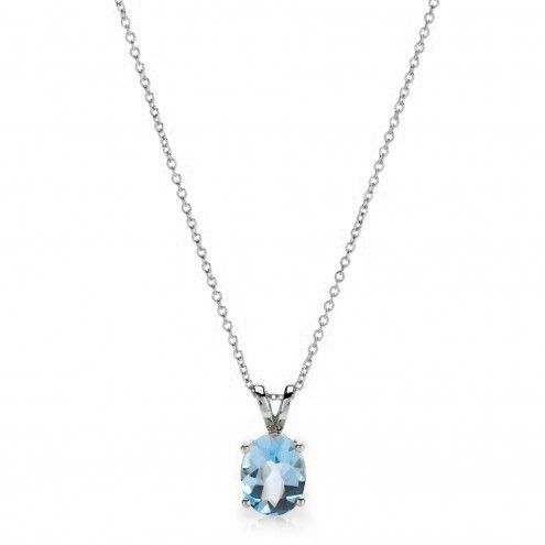 Blue Topaz Pendant Necklace, in sterling silver