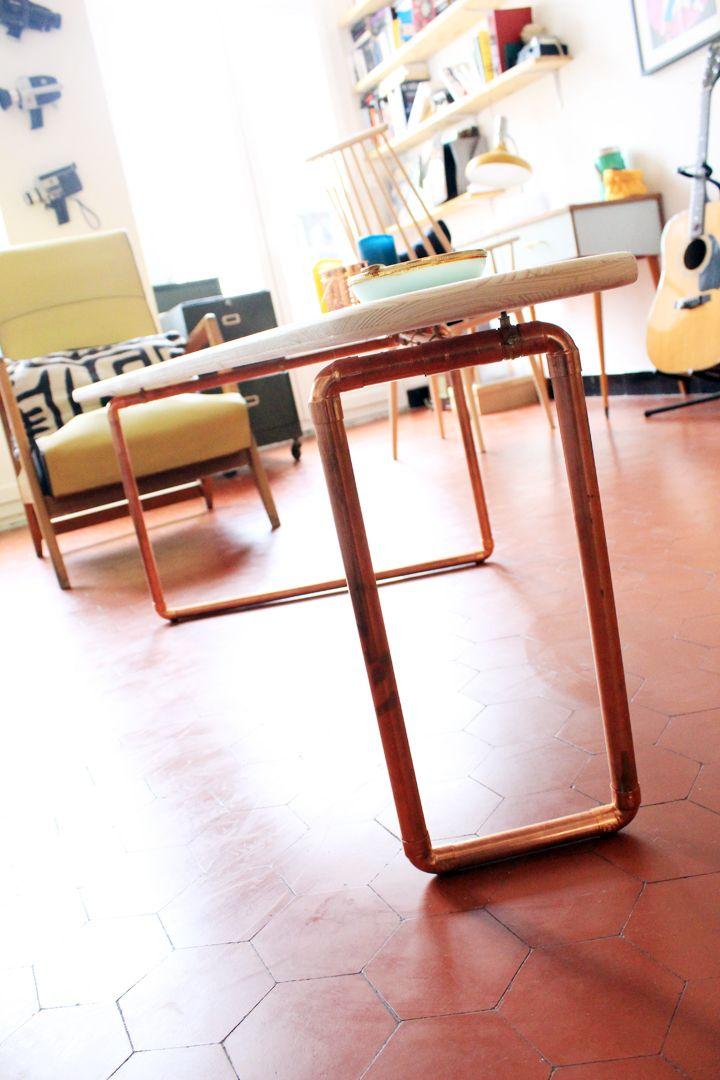 Tuto table basse cuivre et bois - Mariekke