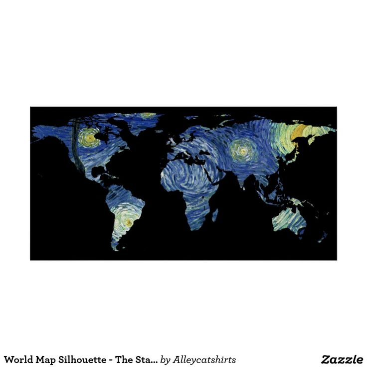 80 best world map silhouette images on pinterest silhouette world map silhouette the starry night poster gumiabroncs Images