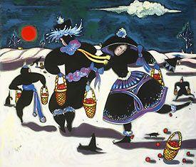 "Toller Cranston's painting, ""Winter Market."""