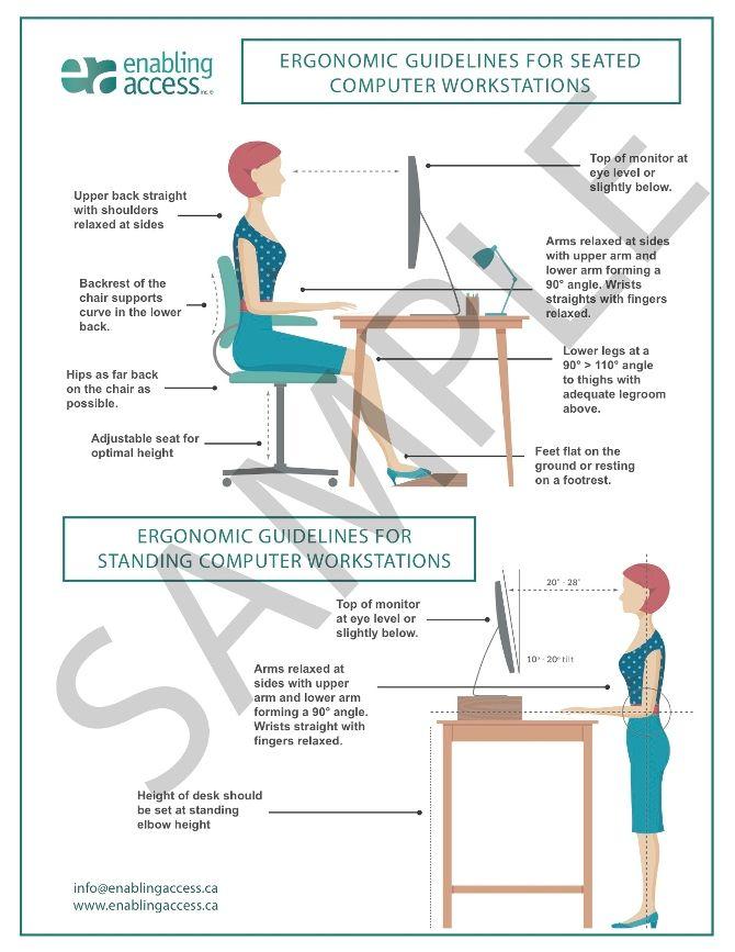 Office Ergonomics Guidelines Poster Ergonomic Tools Ergonomics Workplace Injury