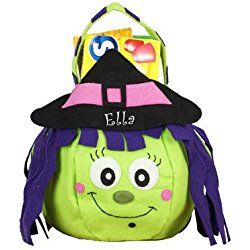 "Witch Trick or Treat Bag, 8"" H with a 7"" opening, Personalized kids halloween bag, Halloween bag"