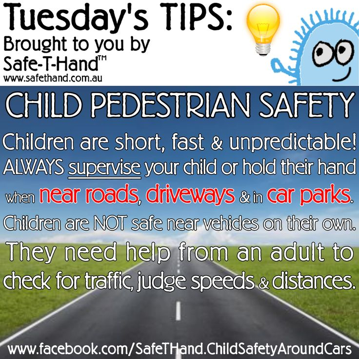 Road Safety Tip 'Child Pedestrian Safety'  For more tips, competition pre-entry, discounts + more - Join our newsletter: www.safethand.com.au #roadsafety #tips #safethand #fundraise #educate #child #pedestrian