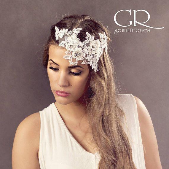 Bridal Headpiece, Lace Headpiece, Vintage Wedding Crystal and Pearl Headpiece, Wedding Hair Jewelry, Pearl Hair acessories, Bridal Headdress