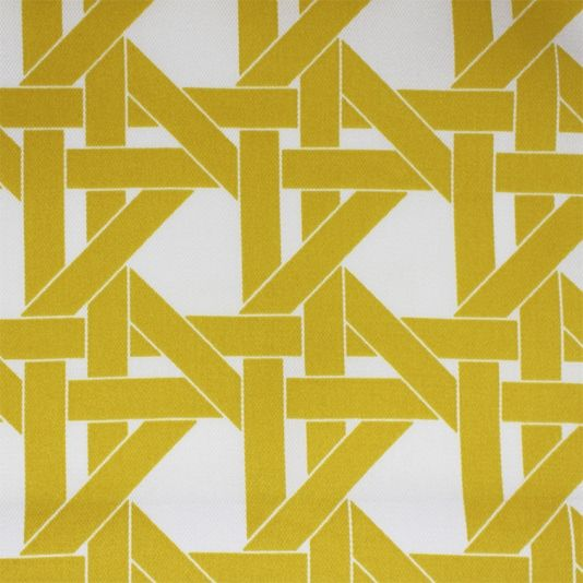 Lincoln Road Fabric A contemporary outdoor fabric featuring a large weave print in yellow on white.