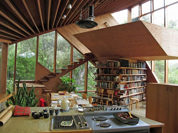 Warm wood, lots of natural light, lots of books, and angular architecture to offset the hippie effect.